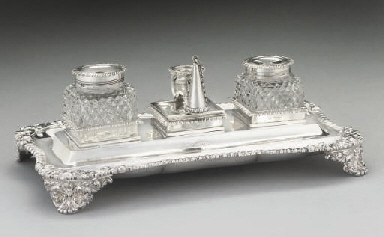 A GEORGE IV SILVER INKSTAND,
