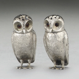 A PAIR OF VICTORIAN SILVER OWL