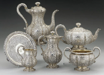 A VICTORIAN SIX-PIECE SILVER T