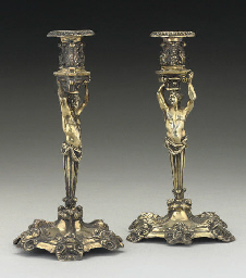 A PAIR OF VICTORIAN SILVER-GIL