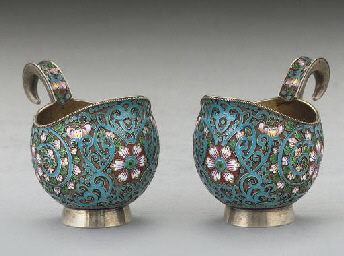 A PAIR OF SMALL RUSSIAN SIVER-