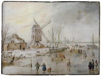 A winter landscape with figure