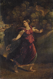 A woman fleeing on a wooded pa
