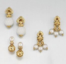 Three pairs of earrings by Bul