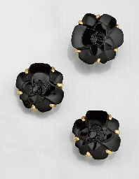 A pair of ceramic floral earcl