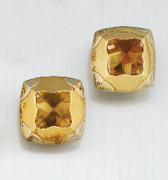 A PAIR OF CITRINE EARCLIPS, BY