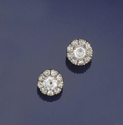 A pair of rose-cut diamond clu