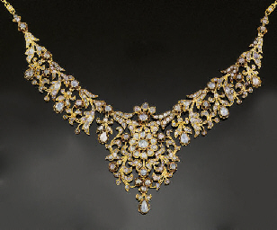 A rose-cut diamond necklace