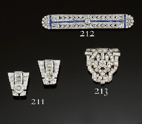 An Art Deco diamond clip