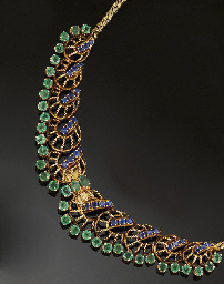 An emerald and sapphire neckla