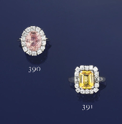 A COLOURED SAPPHIRE AND DIAMON