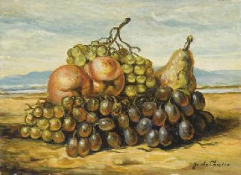 Natura morta con uva, pere e m