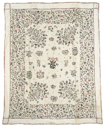 A CHARMING CREWELWORK COVERLET