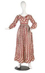 A DAY DRESS OF PRINTED COTTON,