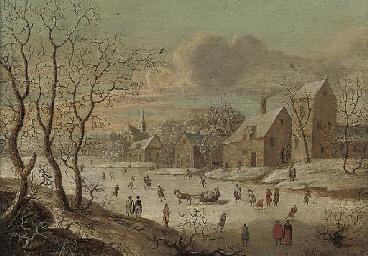 A frozen river landscape with