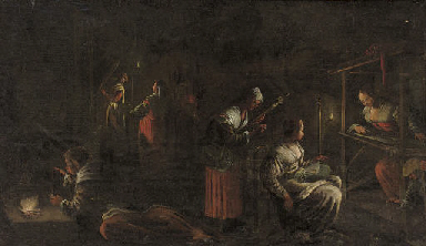 Women weaving in a candlelit i
