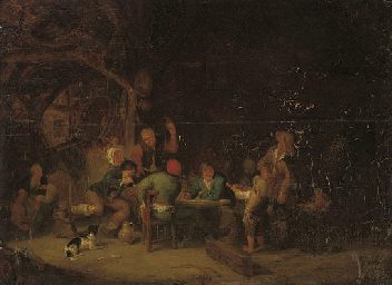 Peasants merrymaking in a barn