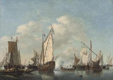 A Dutch man-o'war, a rowing bo
