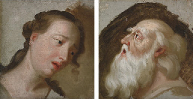 Two studies of heads: Head of