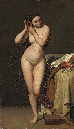 A female nude, full-length, re