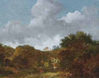 A landscape with a man being c