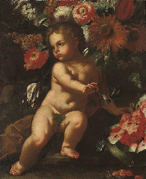 A putto surrounded by flowers,