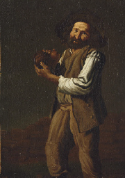 A peasant holding a water gour