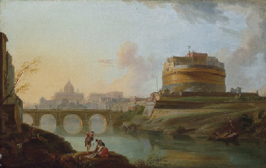 A view of the Tiber, Rome, wit