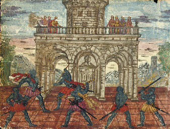 Knights duelling in front of a