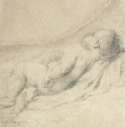 A sleeping infant lying on his