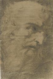Head of a bearded man, in prof