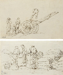 Four men loading a wagon; and