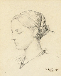 Portrait of a young woman, in