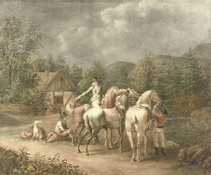Three gentlemen with horses an