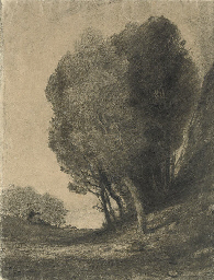 A landscape with trees and two