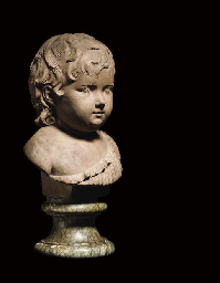 A TERRACOTTA BUST OF A CHILD
