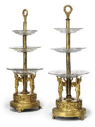A PAIR OF EMPIRE ORMOLU AND EN