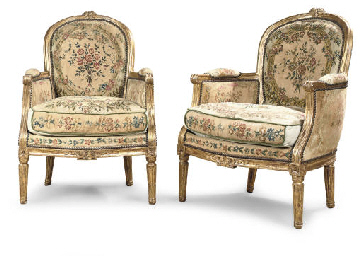 A PAIR OF LOUIS XVI GILTWOOD A