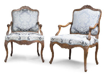 A PAIR OF LOUIS XV ELM FAUTEUI