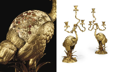 A PAIR OF ORMOLU THREE-LIGHT C