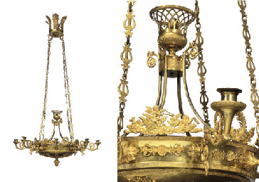 A RUSSIAN ORMOLU EIGHT-LIGHT C