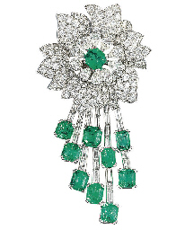 A DIAMOND AND EMERALD BROOCH/P