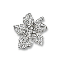 A DIAMOND FLORAL BROOCH, BY CA