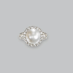 A NATURAL PEARL AND DIAMOND RI