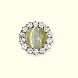 AN ANTIQUE CAT'S EYE AND DIAMO