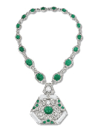 A FINE ART DECO EMERALD, DIAMO