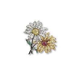AN ART DECO FLORAL BROOCH, BY