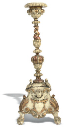 AN ITALIAN GILT-WOOD AND CREAM