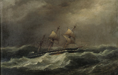 A schooner in a swell