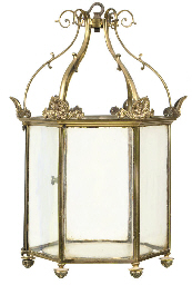 A REGENCY GILT-BRASS HEXAGONAL